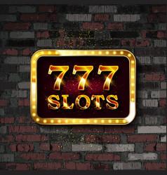 777 slots neon sign banner vector