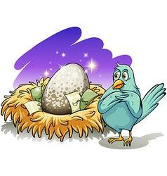 A bird beside the nest vector