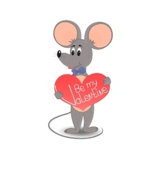 A mouse with a red heart Be my Valentine vector