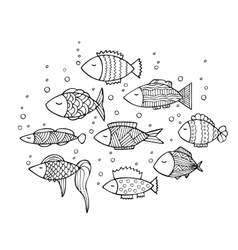 Adult coloring book page design with fish vector