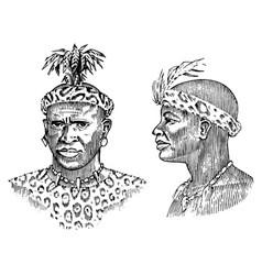 African tribes portraits aborigines in vector