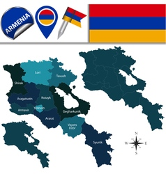 Armenia map with named divisions vector