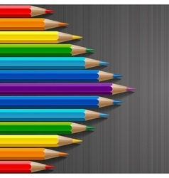 Arrow shape of rainbow colored pencils with vector image