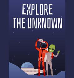 Astronaut and alien make selfie photo vector