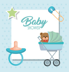 Baby shower card with bear teddy in cart vector