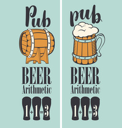 Banner for pub with beer on tap in a retro style vector