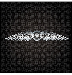 Biker theme silver label with wheelbike and wings vector