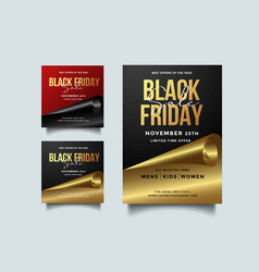 Black friday social media and a4 flyer template vector