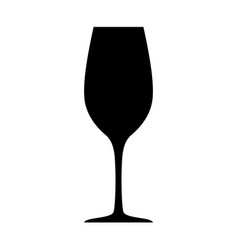black wineglass silhouette isolated on white vector image