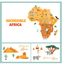 Bright postcards with map of africa vector
