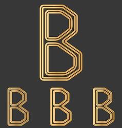 Bronze line b logo design set vector image
