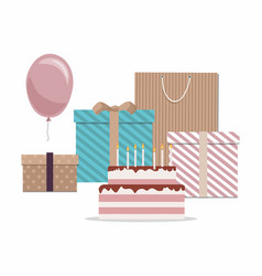cake gifts and balloon isolated on white backgrou vector image