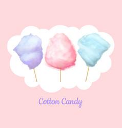 Candy floss cotton bilberry cherry plum candies vector
