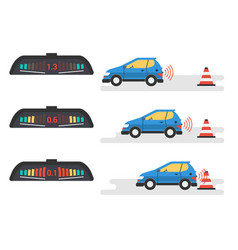 car parktronic infographic - three positions vector image