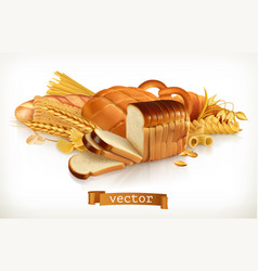 Carbohydrates bread pasta wheat cereals 3d vector
