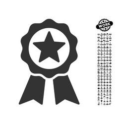 Certification seal icon with work bonus vector
