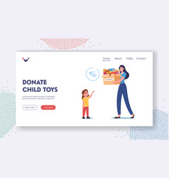 Charity landing page template woman donate toys vector
