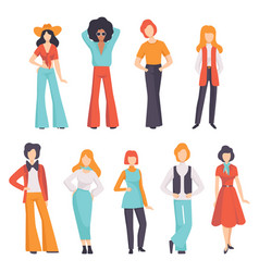 collection of men and women wearing vintage vector image