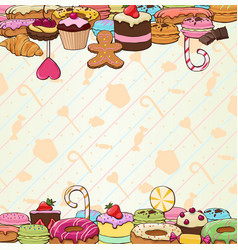 Colorful hand drawn pastry background vector
