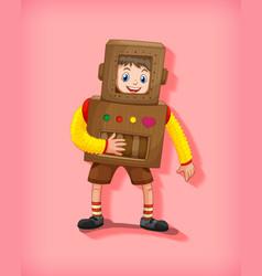 cute boy wearing robot costume in standing vector image