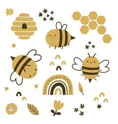 Cute set bees on isolated background vector