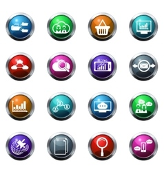 Data analytic and social network icons vector image