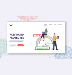 Data protection landing page template woman vector