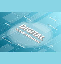 digital transformation isometric 3d word text vector image