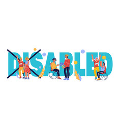 Disability day with invalids living active life vector