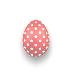 Easter egg 3d icon cute coral egg isolated white vector