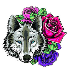 Embroidery wolf and roses needlework patch of vector
