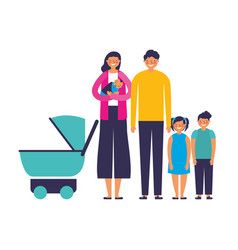 family parents kids and baby pram vector image