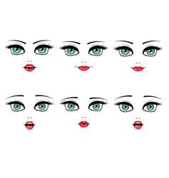 Female facial expression set vector