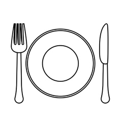 figure fork knife and plate icon image vector image