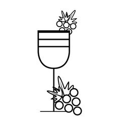 Figure wine glass with grape fruit vector