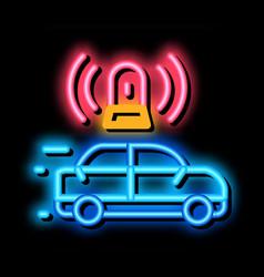 Flashing police car neon glow icon vector