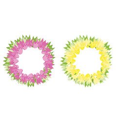 floral wreath of tulip flowers pink and yellow vector image