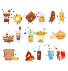 Forever friends set cute funny food and drinks vector