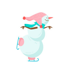 funny funny snowman with a nose in the form of a vector image