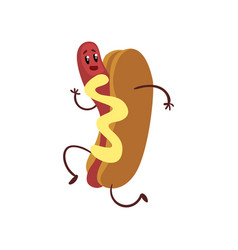 Funny hotdog running humanized fast food vector