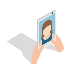 Girl taking selfie photo on smartphone icon vector