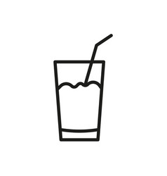glass with a straw outline icon cocktail symbol vector image