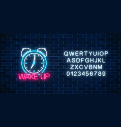 glowing neon sign with alarm clock and motivation vector image