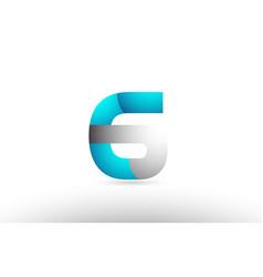 Grey blue number 6 logo 3d design vector