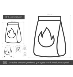 Grill charcoal line icon vector