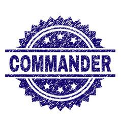 Grunge textured commander stamp seal vector
