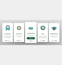Hair scrunchies bands onboarding icons set vector