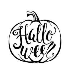 Hand drawn halloween script text with pumpkin vector image