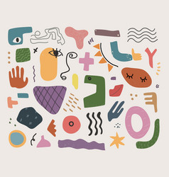 hand drawn modern doodle shapes fun blobs vector image
