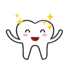 happy healthy tooth character icon vector image